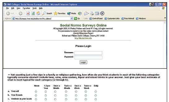Social Norms Surveys Online
